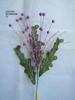 "2015 new design spring Artificial glitter Flower berry branch 22"" Christmas spray"