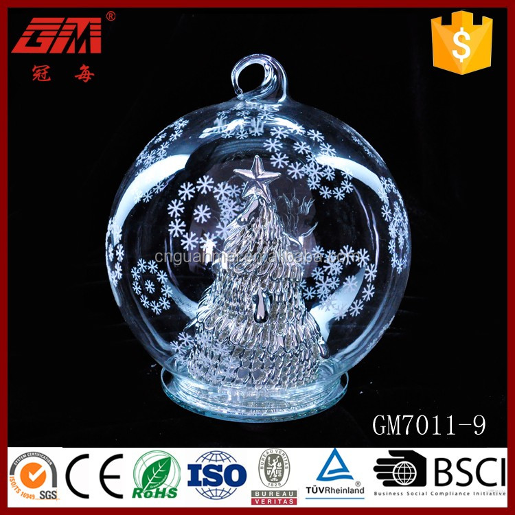 Baoying Hand Blown LED Light Christmas Glass Snow Ball For Outdoor