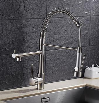 Single Handle hand sprayer brushed brass spring rotating kitchen faucet pull out
