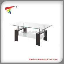 Tempered glass top MDF frame coffee table