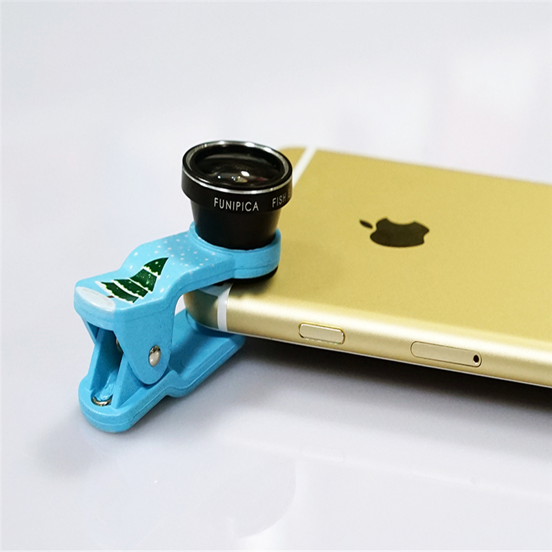 2016 Newest Christmas gifts Mobile phone 3 in 1 0.65X Wide-angle+Fish eye+Macro Xmas-tree clip-on lens foriphone ipad samsung