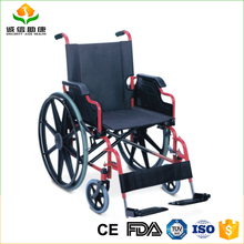 Hot sale powder coated steel frame fixed armrest detachable footrest solid rear wheel wide wheels wheelchair