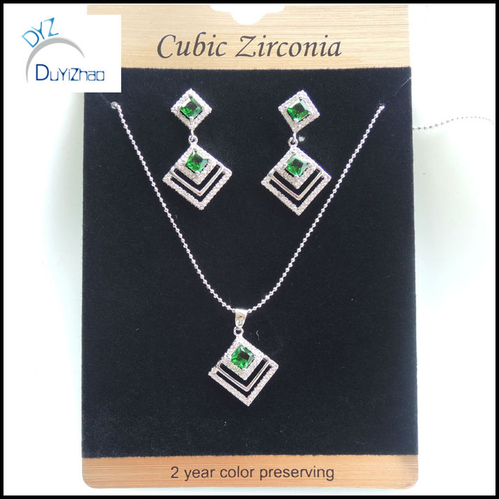 brass square cheap green stone cz necklace set jewelry