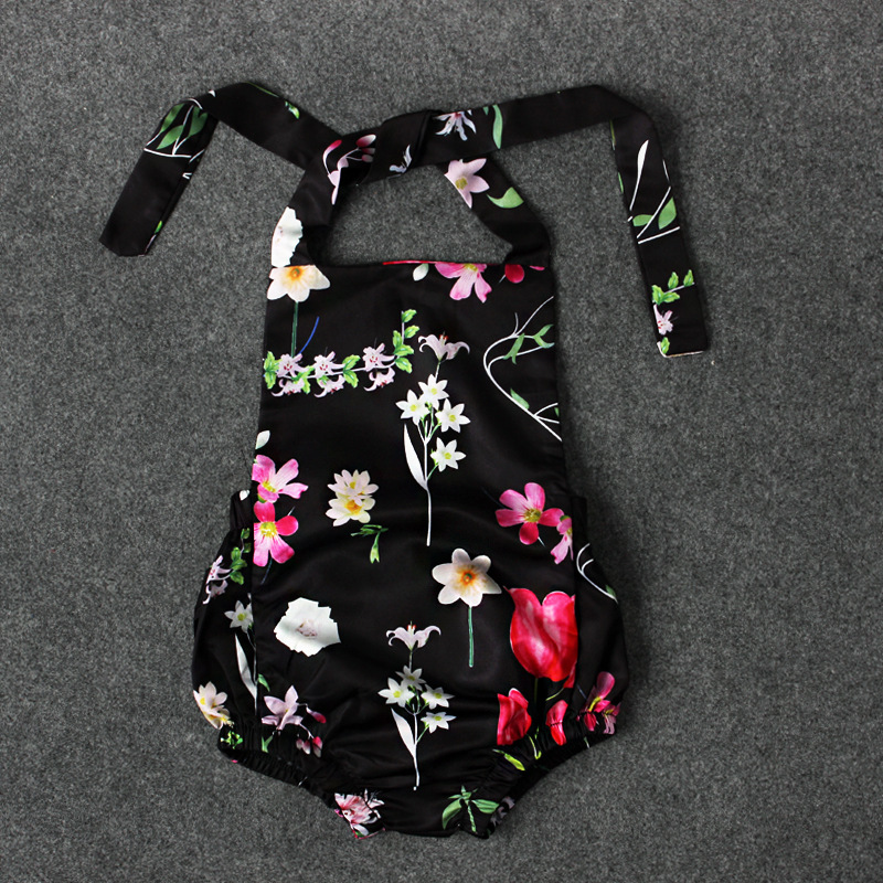 S18104A New baby romper baby girls clothes vintage floral printed jumpsuit