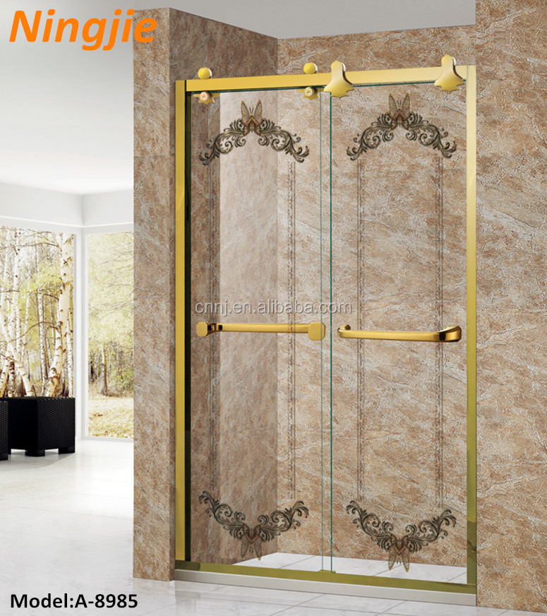 SUS golden color decorative glass bath shower screen (A-8985)