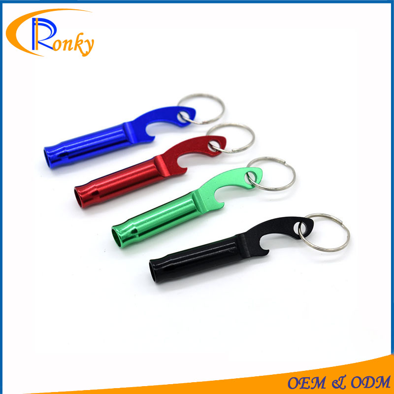 Cheap creative gift products aluminum whistle bottle opener keyring