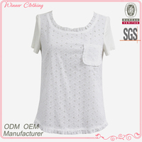 High fashion ladies short sleeve embroidered cotton blouse