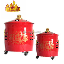 Buddhist Prayer Burning Drum With Movable Design Wheel