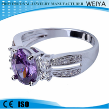 2015 Hot Sale New Square Design Fashion Amethyst Female Ring White Gold Filled Jewelry Vintage Engagement Wedding Rings For Wome