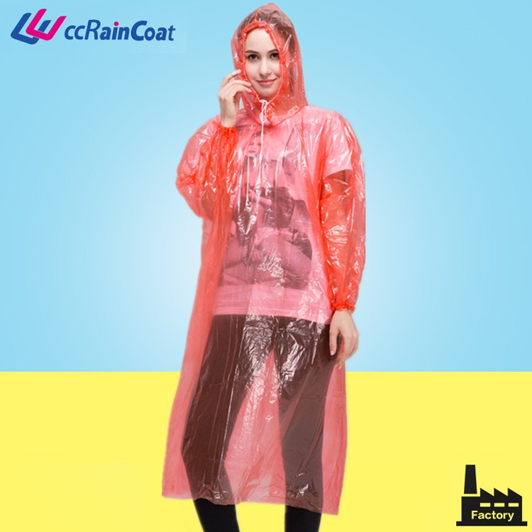Plastic material raincoat clear pe disposable rain suit