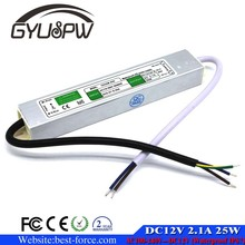 New Model Waterproof IP67 25W 12V 2.1A Switching Power Supply AC 100-240V Input to DC 12V Output SMPS For Led Strip display