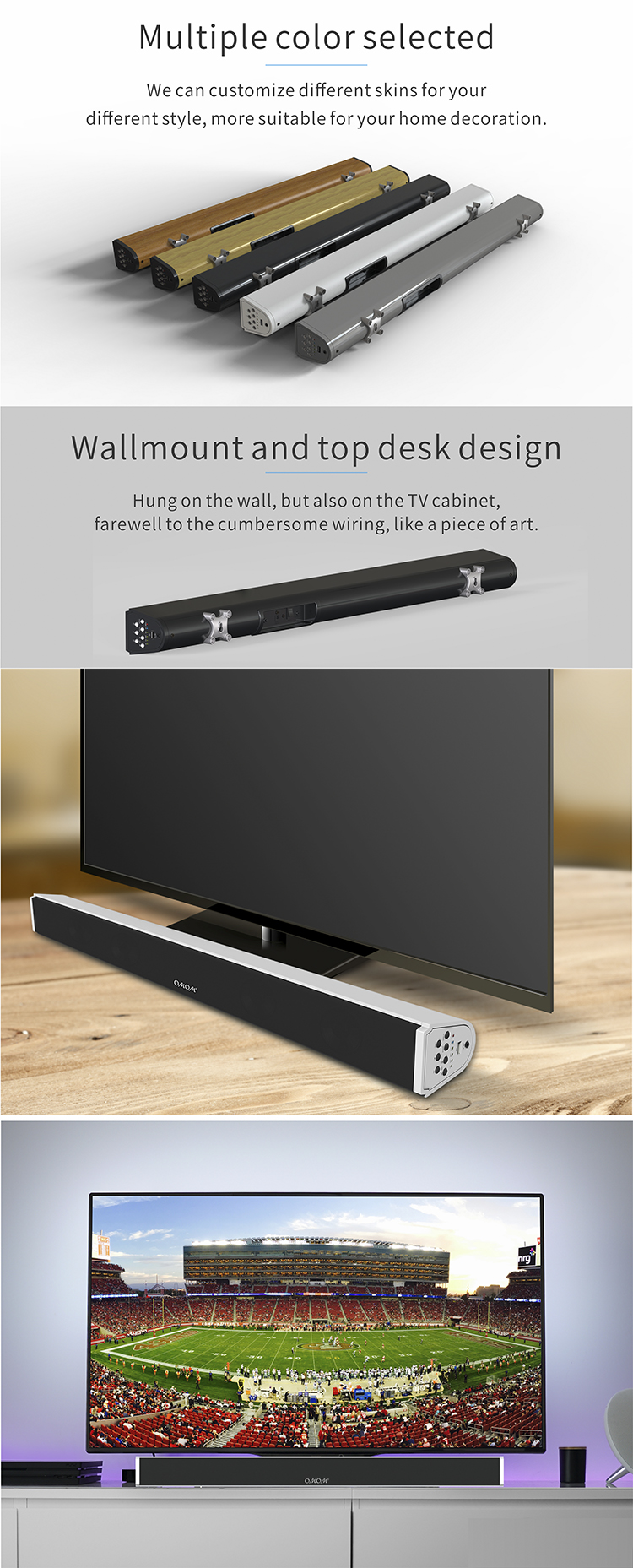 OM-SB200BT Fashionable Subwoofer Sound Bar Speaker/Soundbar Speaker for TV