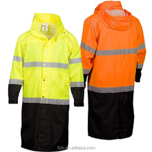 Hi vis two tone oxford safety waterproof Long rain coat