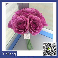 Home decoration artificial peony bouquet ribbon flowers