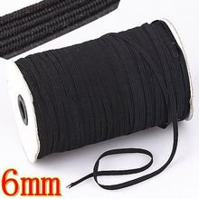 100yd Black Knitted Braided Elastic Stretch 6mm/9mm/12mm Width Sewing Ribbon