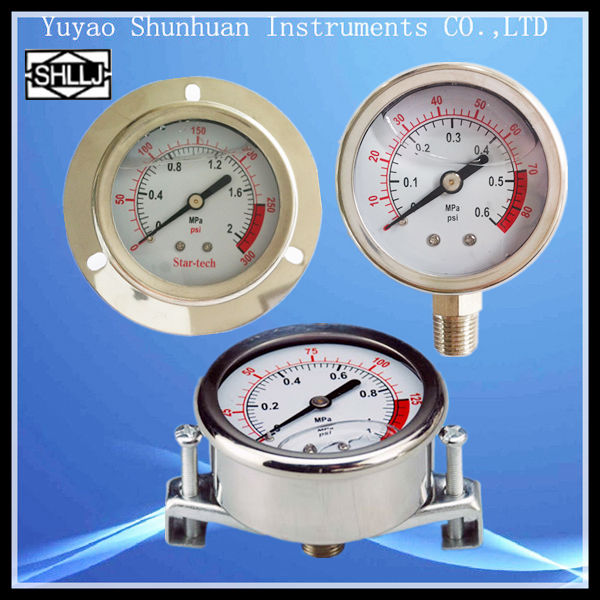 LZY liquid filled oil filled stainless steel material pressure gauges oil pressure gauges