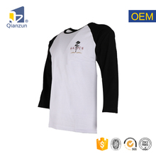 Black white raglan tight fit long sleeve t shirt