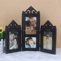 Black color wooden foldable picture photo frame