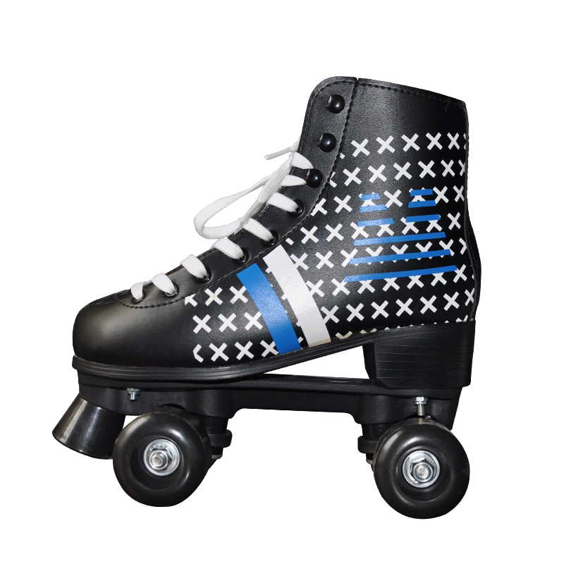 Black polyurethane wheels and brake material metal base double row roller skates