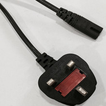 100% copper uk 3 pin power cord with iec c7 cable plug
