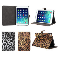 Sexy Leopard Leather Skin Pattern Print Flip Wallet Case For iPad mini 4
