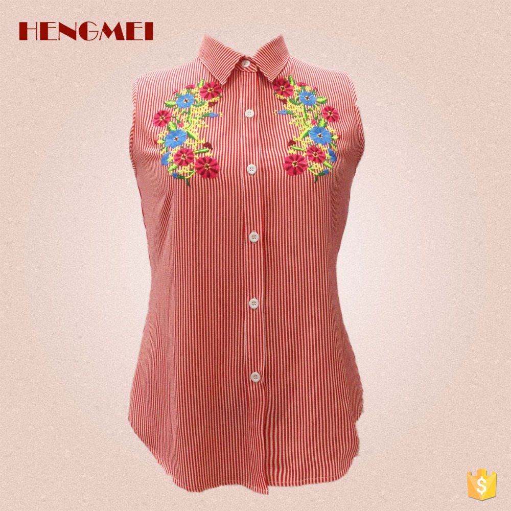 Hengmei Women's Summer Red White Striped Shirt Embroidery Turn Down Collar Sleeveless Blouse