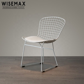 Elegant modern design white bertoia side cafe dining chair diamond chrome wire metal chair used for restaurant