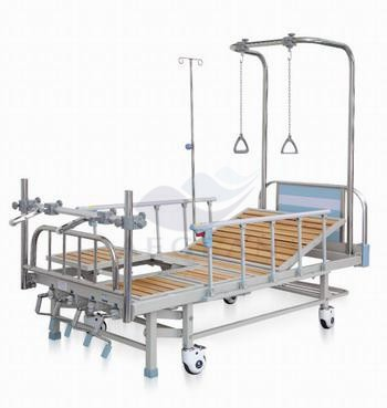 AG-OB002 Hospital wood headboard with IV pole orthopedic therapy medical patient bed
