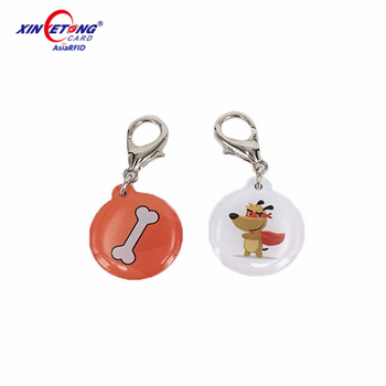 Customized animal identification MF 1K RFID NFC epoxy tag with logo printing