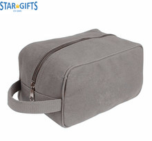 Zipper Grey Men Portable Canvas Cosmetic Makeup Bag Custom Wholesale Travel Toiletry Cases
