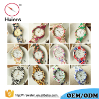 Aliexpress hot sell Geneva watch woman flower watch