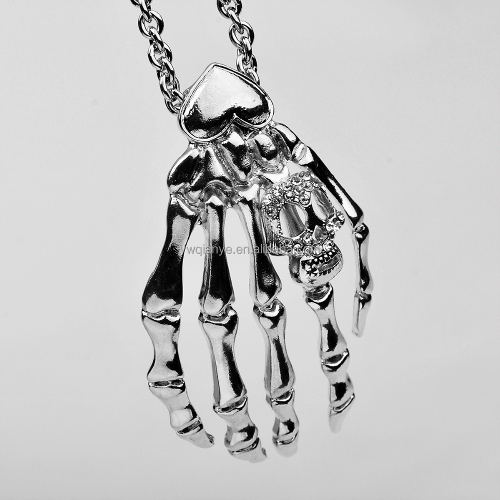 2015 fashion hand bones latest long chain necklace for men