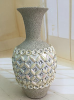 Beautiful ceramic&frosting floor flower vase insert diamond for decorativon