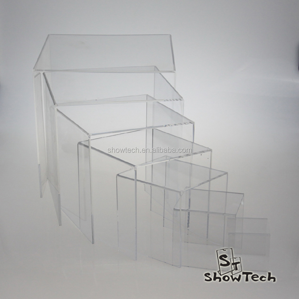Top grade smooth clear acrylic risers display cubes clear solid acrylic display cube