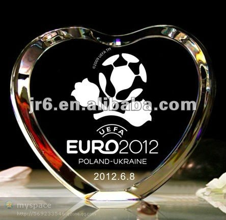 Crystal Heart-shape Plaque Awards Glass Trophies Crystal Blank Sport