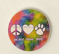 Custom absorbent stone coaster,auto paw print heart peace dog