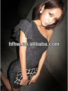 2013 newest fashionable One shoulder dress sexy small fly sleeve of inclined shoulder