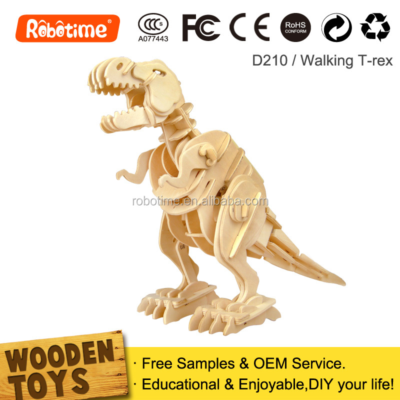 DIY 3D educational wooden puzzle toy sound control biting dinosaur T-Rex