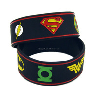 Justice League Silicone Wristband Bracelet with Superman Batman Green Lantern and The flash