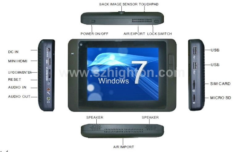 "6 inch 6"" intel Z530 win7 windows 7 MID,PDA,UMPC,Pocket PC,Tablet PC,Slate PC with 6 inch 6"" windows 7 finger printing scanner"
