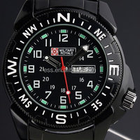 New Military Royale Style Mens Black Stainless Steel White Numeral Bezel Army Watch MR022