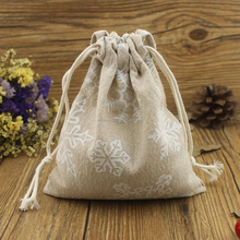 Online hot sell promotional linen drawstring sack for gift packing