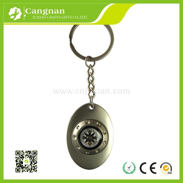 Promotion metal compass keychain
