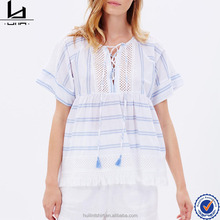 fashion short sleeve lace-up bodice stripes ladies front open tops