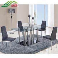 Wholesale square 6 seater tempered glass dining table with stainless steel legs