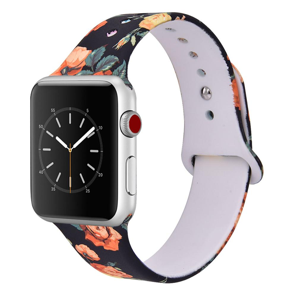 2018 Flowers Printed Sport Silicone Wrist Watch Band for <strong>Apple</strong> Watch Printing Rubber Strap 38/42mm for iWatch Band for <strong>Apple</strong>