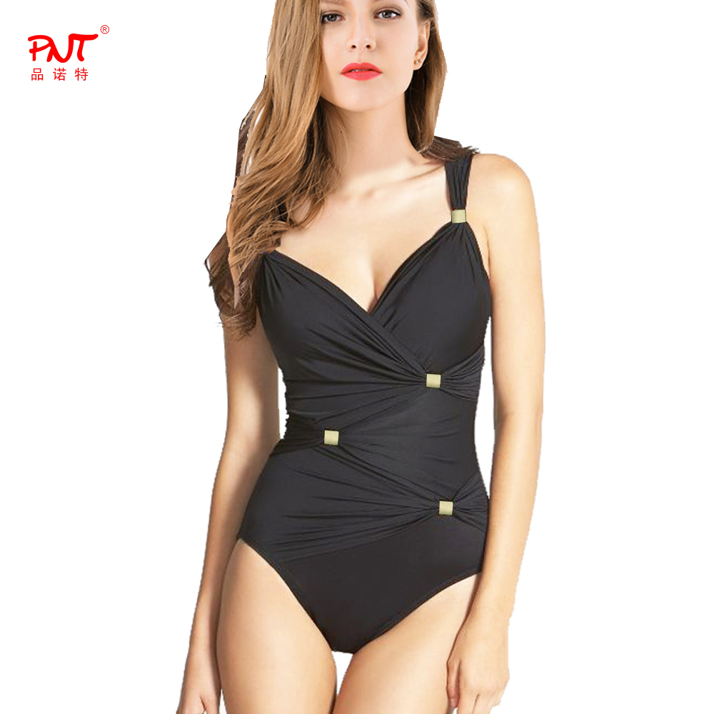European American fashion cover fold up belly slim Chest cross stack design metal jewelry black mature women one piece swimwear