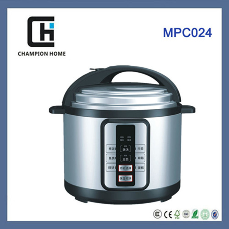 modern design realistic type 5L stainless steel electric pressure cooker with ETL/C-ETL/CB/CE