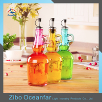 Good Quality Colored Vinegar Vegetable Kitchen Oil Bottles Decorative Glass Olive Oil Bottle