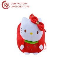 Red Hello Kitty Cartoon School Bag Plush Backpack For Children 3D Kindergarten Backpack Stuffed Kids Small Bag
